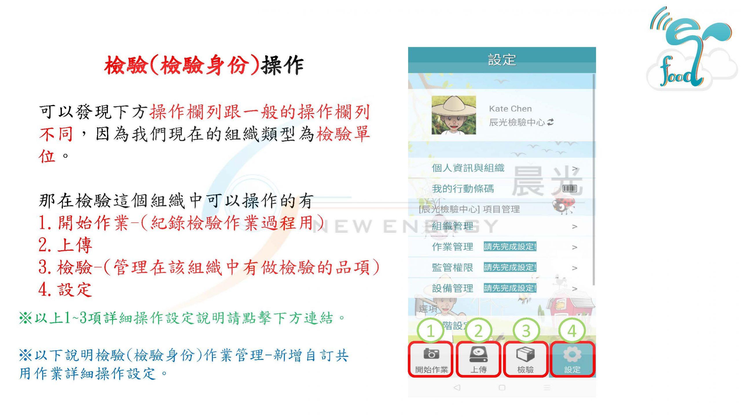 真食呈現,作業管理,檢驗(檢驗身份),新增自訂共用作業,編輯順序,作業圖案